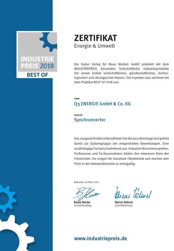 Zertifikat BEST OF INDUSTRIEPREIS SYNCHRONVERTER 2018